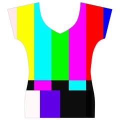 Color Bars & Tones Women s V-Neck Cap Sleeve Top