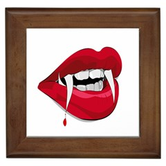 Mouth Jaw Teeth Vampire Blood Framed Tiles