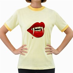 Mouth Jaw Teeth Vampire Blood Women s Fitted Ringer T-Shirts