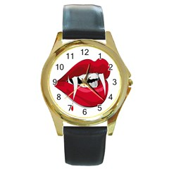 Mouth Jaw Teeth Vampire Blood Round Gold Metal Watch
