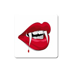 Mouth Jaw Teeth Vampire Blood Square Magnet