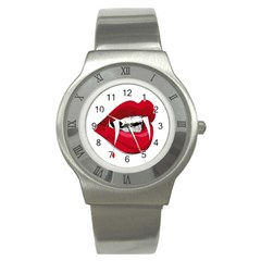 Mouth Jaw Teeth Vampire Blood Stainless Steel Watch