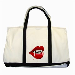 Mouth Jaw Teeth Vampire Blood Two Tone Tote Bag
