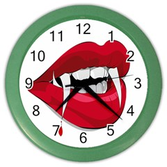 Mouth Jaw Teeth Vampire Blood Color Wall Clocks