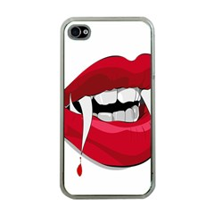 Mouth Jaw Teeth Vampire Blood Apple iPhone 4 Case (Clear)