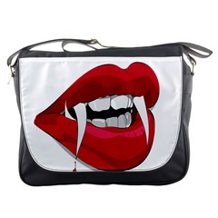 Mouth Jaw Teeth Vampire Blood Messenger Bags