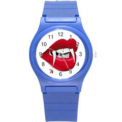 Mouth Jaw Teeth Vampire Blood Round Plastic Sport Watch (S)