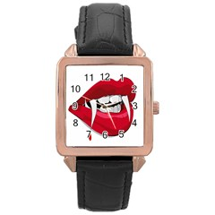 Mouth Jaw Teeth Vampire Blood Rose Gold Leather Watch