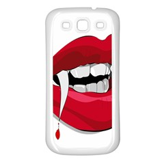 Mouth Jaw Teeth Vampire Blood Samsung Galaxy S3 Back Case (White)
