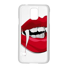 Mouth Jaw Teeth Vampire Blood Samsung Galaxy S5 Case (White)