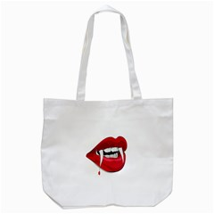 Mouth Jaw Teeth Vampire Blood Tote Bag (white)