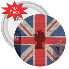 Vintage London 3  Buttons (10 pack)