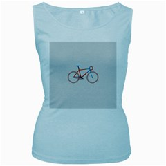 Bicycle Sports Drawing Minimalism Women s Baby Blue Tank Top