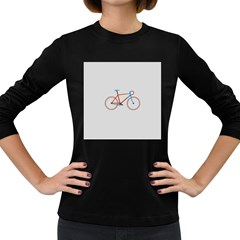 Bicycle Sports Drawing Minimalism Women s Long Sleeve Dark T-Shirts