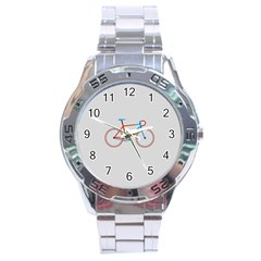 Bicycle Sports Drawing Minimalism Stainless Steel Analogue Watch