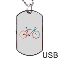 Bicycle Sports Drawing Minimalism Dog Tag USB Flash (Two Sides)