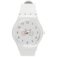 Bicycle Sports Drawing Minimalism Round Plastic Sport Watch (m)