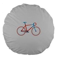 Bicycle Sports Drawing Minimalism Large 18  Premium Flano Round Cushions