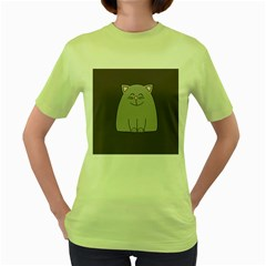 Cat Minimalism Art Vector Women s Green T-Shirt