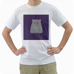 Cat Minimalism Art Vector Men s T-Shirt (White) (Two Sided)