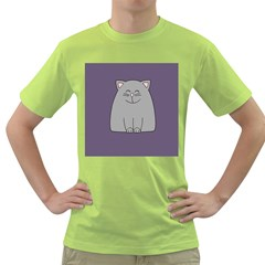 Cat Minimalism Art Vector Green T Shirt