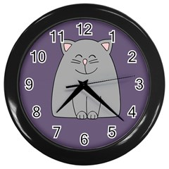 Cat Minimalism Art Vector Wall Clocks (Black)