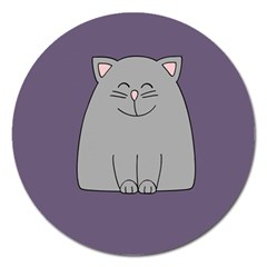 Cat Minimalism Art Vector Magnet 5  (Round)