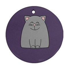 Cat Minimalism Art Vector Round Ornament (Two Sides)