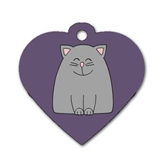Cat Minimalism Art Vector Dog Tag Heart (Two Sides)