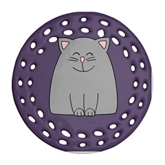 Cat Minimalism Art Vector Round Filigree Ornament (Two Sides)