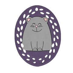 Cat Minimalism Art Vector Oval Filigree Ornament (Two Sides)