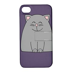 Cat Minimalism Art Vector Apple iPhone 4/4S Hardshell Case with Stand