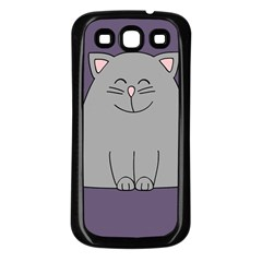 Cat Minimalism Art Vector Samsung Galaxy S3 Back Case (Black)
