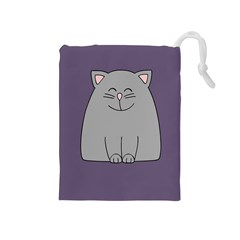 Cat Minimalism Art Vector Drawstring Pouches (Medium)
