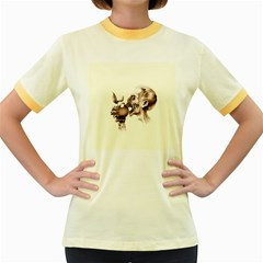 Zombie Apple Bite Minimalism Women s Fitted Ringer T-Shirts