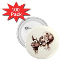 Zombie Apple Bite Minimalism 1.75  Buttons (100 pack)