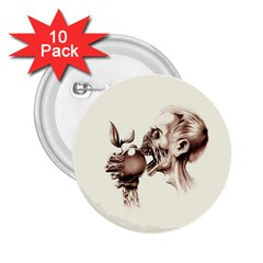 Zombie Apple Bite Minimalism 2.25  Buttons (10 pack)