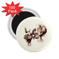 Zombie Apple Bite Minimalism 2 25  Magnets (100 Pack)