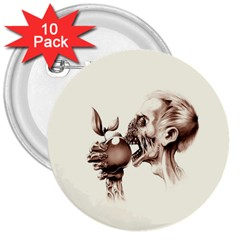 Zombie Apple Bite Minimalism 3  Buttons (10 pack)