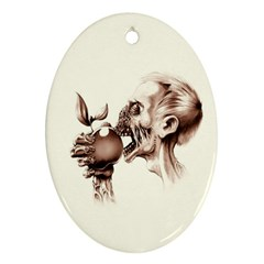 Zombie Apple Bite Minimalism Oval Ornament (two Sides)