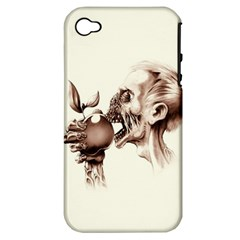 Zombie Apple Bite Minimalism Apple iPhone 4/4S Hardshell Case (PC+Silicone)