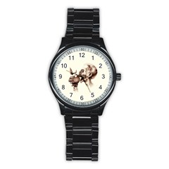 Zombie Apple Bite Minimalism Stainless Steel Round Watch