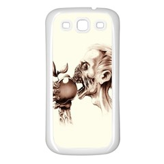 Zombie Apple Bite Minimalism Samsung Galaxy S3 Back Case (White)