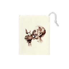 Zombie Apple Bite Minimalism Drawstring Pouches (Small)