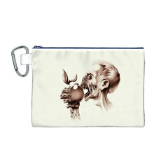 Zombie Apple Bite Minimalism Canvas Cosmetic Bag (M)