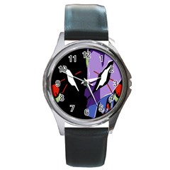 Monster Face Drawing Paint Round Metal Watch