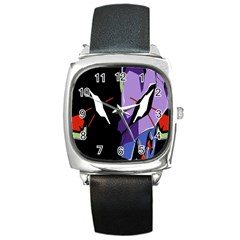 Monster Face Drawing Paint Square Metal Watch
