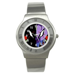 Monster Face Drawing Paint Stainless Steel Watch