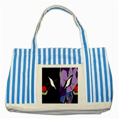 Monster Face Drawing Paint Striped Blue Tote Bag