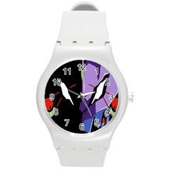 Monster Face Drawing Paint Round Plastic Sport Watch (m)